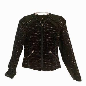 H&M Black Tweed & Faux Leather Jacket